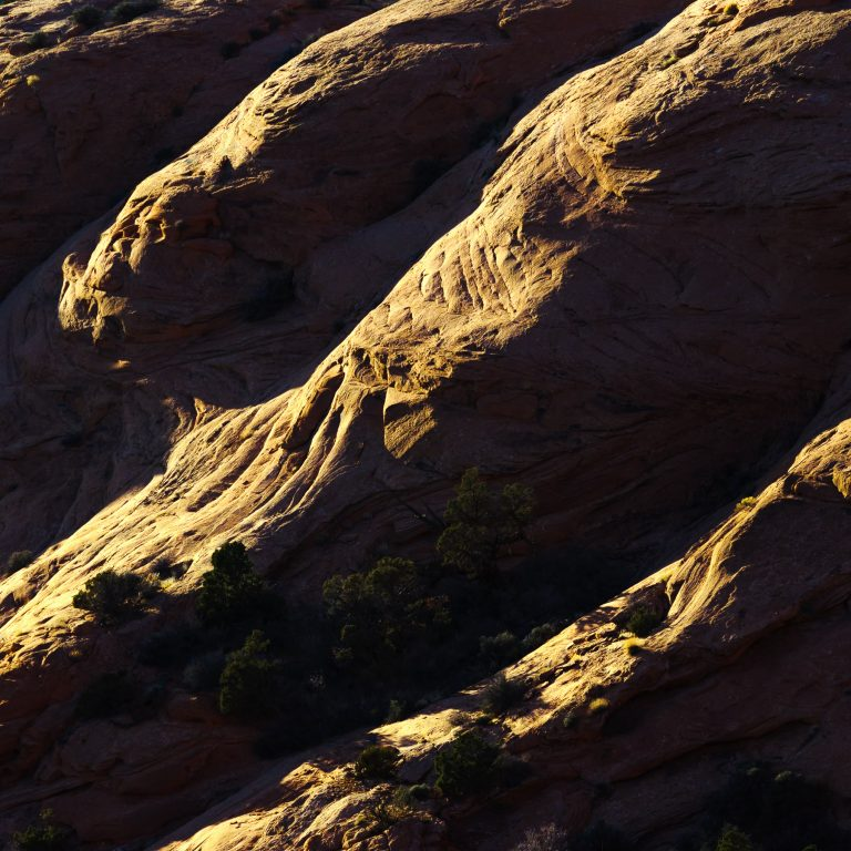 Last rays at sunset hitting a rolling sandstone landscape in Arches National Park.