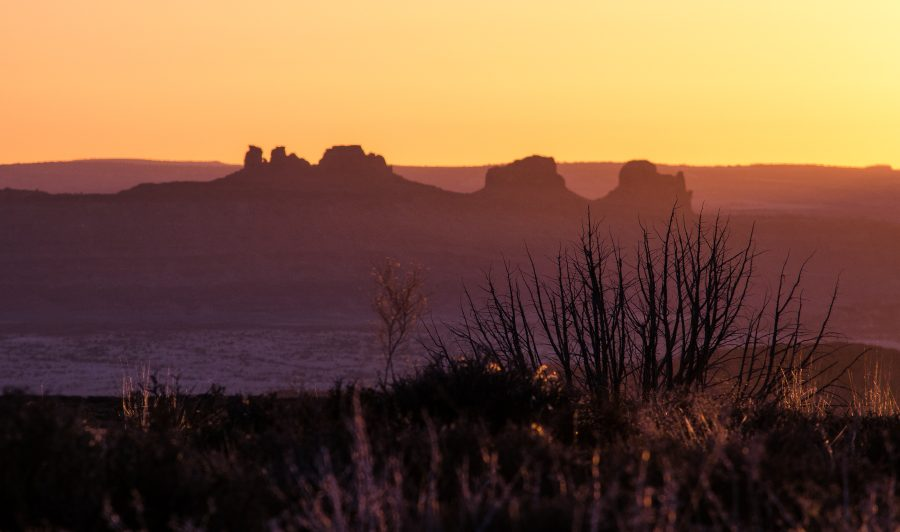 The sunset at Arches National Park.